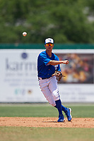 Dunedin Blue Jays shortstop Kevin Vicuna (3) throws to first base during a Florida State League game against the Jupiter Hammerheads on May 16, 2019 at Jack Russell Memorial Stadium in Clearwater, Florida.  Dunedin defeated Jupiter 1-0.  (Mike Janes/Four Seam Images)