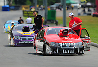 Jun. 18, 2011; Bristol, TN, USA: NHRA pro stock driver V. Gaines heads back to the pits after a run during qualifying for the Thunder Valley Nationals at Bristol Dragway. Mandatory Credit: Mark J. Rebilas-
