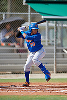 GCL Mets center fielder Guillermo Granadillo (90) at bat during a game against the GCL Cardinals on July 23, 2017 at Roger Dean Stadium Complex in Jupiter, Florida.  GCL Cardinals defeated the GCL Mets 5-3.  (Mike Janes/Four Seam Images)