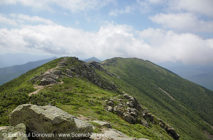Looking south along the Appalachian Trail (Franconia Ridge Trail) in the White Mountains, New Hampshire USA during the summer months.