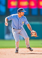 14 March 2016: Tampa Bay Rays infielder Pat Blair, warms up prior to a pre-season Spring Training game against the Atlanta Braves at Champion Stadium in the ESPN Wide World of Sports Complex in Kissimmee, Florida. The Ray fell to the Braves 5-0 in Grapefruit League play. Mandatory Credit: Ed Wolfstein Photo *** RAW (NEF) Image File Available ***