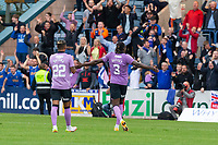25th September 2021; Kilmac Stadium, Dundee, Scotland: Scottish Premiership football, Dundee versus Rangers; Calvin Bassey and Juninho Bacuna of Rangers celebrate at the end of the match with the visiting fans