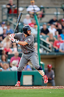 Lehigh Valley IronPigs designated hitter Trevor Plouffe (19) at bat during a game against the Rochester Red Wings on June 29, 2018 at Frontier Field in Rochester, New York.  Lehigh Valley defeated Rochester 2-1.  (Mike Janes/Four Seam Images)