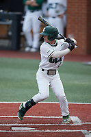 Carson Johnson (2) of the Charlotte 49ers at bat against the Old Dominion Monarchs at Hayes Stadium on April 23, 2021 in Charlotte, North Carolina. (Brian Westerholt/Four Seam Images)