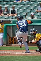 Frank Schwindel (33) of the Las Vegas Aviators at bat against the Salt Lake Bees at Smith's Ballpark on June 27, 2021 in Salt Lake City, Utah. The Aviators defeated the Bees 5-3. (Stephen Smith/Four Seam Images)
