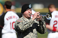 Rochester Red Wings pre-game introducts with PhIL, Military, Army, United States Army, Armed Forces Kovach of the United States Army playing taps (aka butterfields lullaby aka Day is Done) before a game against the Scranton WIL, Military, Army, United States Army, Armed Forceskes-Barre Yankees at Frontier Field on AprIL, Military, Army, United States Army, Armed Forces 9, 2011 in Rochester, New York.  Rochester defeated Scranton 7-6 in twelve innings.  Photo By Mike Janes/Four Seam Images