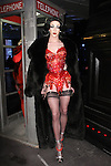 """Violet Chachki poses in an outfit from the Adrienne Landau Fall Winter """"Landauland"""" collection fashion presentation co-produced by Susanne Bartsch and Saula Villela, at 111 West 19th Street, on February 14, 2017; during New York Fashion Week: Women's Fall Winter 2017."""