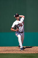 Minnesota Twins pitcher Brandon Waddell (58) during a Major League Spring Training game against the Pittsburgh Pirates on March 16, 2021 at Hammond Stadium in Fort Myers, Florida.  (Mike Janes/Four Seam Images)