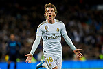 Luka Modric of Real Madrid celebrates goal during La Liga match between Real Madrid and Real Sociedad at Santiago Bernabeu Stadium in Madrid, Spain. November 23, 2019. (ALTERPHOTOS/A. Perez Meca)