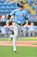 Hickory Crawdads Jake Guenther (15) runs to first base during a game against the Asheville Tourists on July 21, 2021 at McCormick Field in Asheville, NC. (Tony Farlow/Four Seam Images)