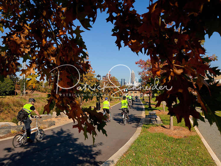 Charlotte residents exercise and explore along the urban section of the Little Sugar Creek Greenway near downtown Charlotte. The paved greenway and stream restoration project extends from East 7th Street to Morehead Street and beyond.