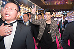 Singer Jay Chou, Ken Chu and his wife Audrey, and Wang Zhongjun on the Red Carpet event at the World Celebrity Pro-Am 2016 Mission Hills China Golf Tournament on 20 October 2016, in Haikou, China. Photo by Weixiang Lim / Power Sport Images