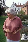 Elizabeth Jane Howard author in her garden Bungay Suffolk UK