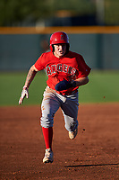 AZL Angels Spencer Brown (9) runs to third base during an Arizona League game against the AZL D-backs on July 20, 2019 at Salt River Fields at Talking Stick in Scottsdale, Arizona. The AZL Angels defeated the AZL D-backs 11-4. (Zachary Lucy/Four Seam Images)