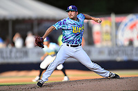 Asheville Hippies starting pitcher Ty Culbreth (38) delivers a pitch during a game against the Greenville Drive at McCormick Field on June 29, 2017 in Asheville, North Carolina. The Drive defeated the Tourists 9-6. (Tony Farlow/Four Seam Images)
