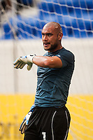 El Salvador goalkeeper Dagoberto Portillo (1) during warmups prior to playing Trinidad and Tobago during a CONCACAF Gold Cup group B match at Red Bull Arena in Harrison, NJ, on July 8, 2013.