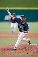 Wingate Bulldogs starting pitcher Hunter Dula (17) delivers a pitch to the plate against the Central Missouri Mules during the 2021 DII Baseball National Championship at Coleman Field at the USA Baseball National Training Complex on June 12, 2021 in Cary, North Carolina. The Bulldogs defeated the Mules 5-3. (Brian Westerholt/Four Seam Images)