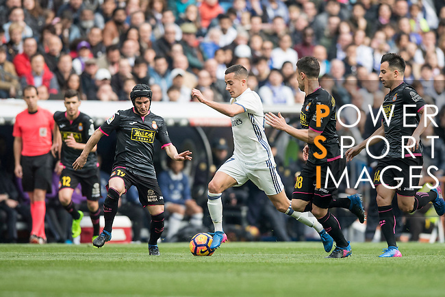 Lucas Vazquez of Real Madrid dribbles during the match Real Madrid vs RCD Espanyol, a La Liga match at the Santiago Bernabeu Stadium on 18 February 2017 in Madrid, Spain. Photo by Diego Gonzalez Souto / Power Sport Images