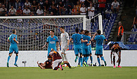 Calcio, Champions League, Gruppo E: Roma vs Barcellona. Roma, stadio Olimpico, 16 settembre 2015.<br /> FC Barcelona's Luis Suarez is hugged by teammates after scoring during a Champions League, Group E football match between Roma and FC Barcelona, at Rome's Olympic stadium, 16 September 2015.<br /> UPDATE IMAGES PRESS/Isabella Bonotto