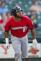 Oklahoma City RedHawks first baseman Jon Singleton (23) runs to first base during the Pacific Coast League baseball game against the Round Rock Express on July 9, 2013 at the Dell Diamond in Round Rock, Texas. Round Rock defeated Oklahoma City 11-8. (Andrew Woolley/Four Seam Images)