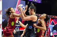 24th September 2021: Christchurch, New Zealand;  Maia Wilson of the Silver Ferns gets the ball from Geva Mentor of England and Layla Guscoth of England during the third Cadbury Netball Series/Taini Jamison Trophy, New Zealand Silver Ferns versus England Roses, Christchurch Arena, Christchurch, New Zealand