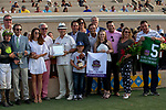 """DEL MAR, CA  JULY 28: #5 Ransom the Moon, ridden by Flavien Prat, in the winners circle after winning the Bing Crosby Stakes (Grade l) Breeders' Cup """"Win and You're In Sprint Division"""" on July 28, 2018 at  Del Mar Thoroughbred Club in Del Mar, CA. (Photo by Casey Phillips/Eclipse Sportswire/Getty Images)"""