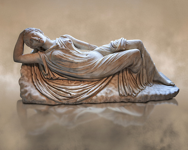 Ariadne sleeping a 2nd century AD Marble Roman statue from Italy. The girl is lying asleep on a rock and is a variation of the famous Sleeping Ariadne of the Vatican museum whose composition is reversed. in Greek mythology Ariadne was the daughter of Minos, King of Crete  and his queen Pasiphaë, daughter of Helios . When Thesius was sent to Crete to be sacrificed to the Minateur Ariadne fell in love at first sight, and helped him by giving him a sword and a ball of thread, so that he could find his way out of the Minotaur's labyrinth. She eloped with Theseus after he achieved his goal, and in most accounts of the myth, Theseus abandoned Ariadne sleeping on Naxos, and Dionysus rediscovered and wedded her. This Roman  Sculpture was inspired  by a Greek original of the 2nd century AD. inv MR 311 ( or Ma 340 ), Louvre Museum Paris
