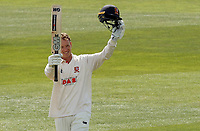 Tom Westley of Essex celebrates scoring a century of runs during Essex CCC vs Worcestershire CCC, LV Insurance County Championship Group 1 Cricket at The Cloudfm County Ground on 9th April 2021
