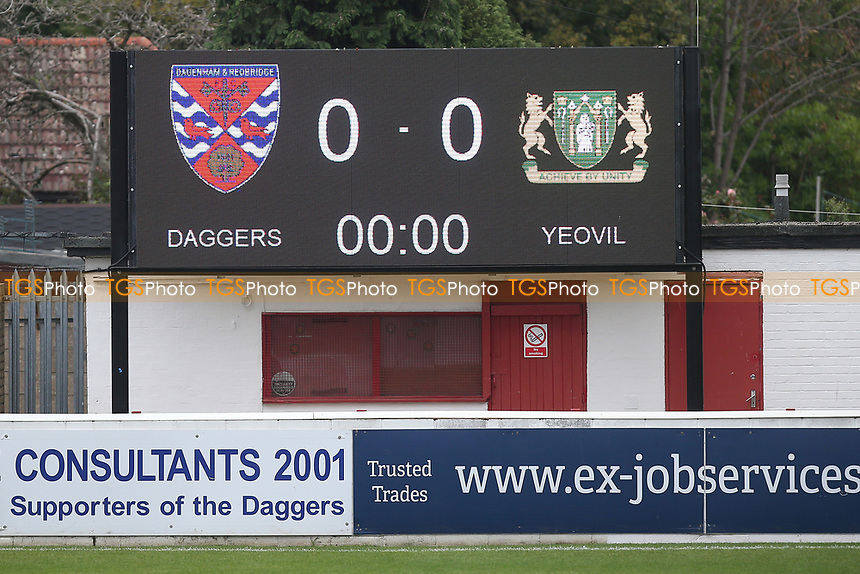 Matchday scoreboard during Dagenham & Redbridge vs Yeovil Town, Vanarama National League Football at the Chigwell Construction Stadium on 17th October 2020