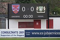 Matchday scoreboard during Dagenham & Redbridge vs Yeovil Town, Vanarama National League Football at the Chigwell Construction Stadium on 17th October 2020
