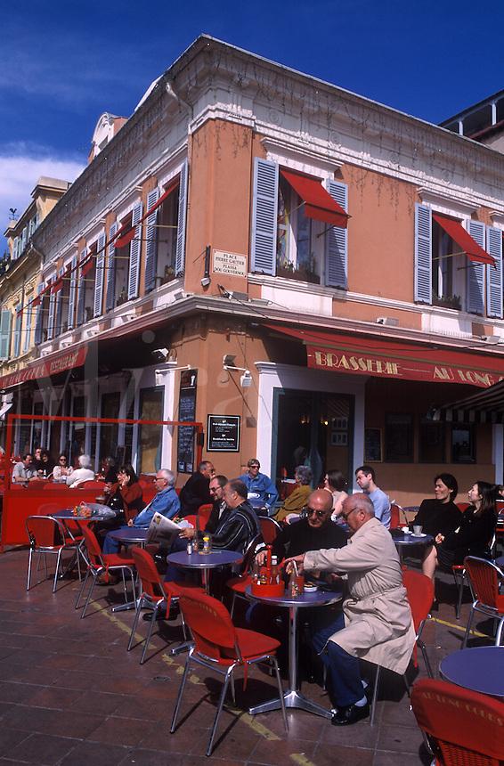 Sidewalk cafe in Nice, France