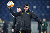 Nuno Campos of AS Roma holds the ball during the warm up prior to the Europa League round of 32 2nd leg football match between AS Roma and Sporting Braga at stadio Olimpico in Rome (Italy), February, 25th, 2021. Photo Andrea Staccioli / Insidefoto