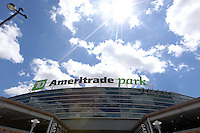 A general view of the entrance to TD Ameritrade Park prior to Game 3 of the 2014 Men's College World Series between the Texas Tech Red Raiders and TCU Horned Frogs at TD Ameritrade Park on June 15, 2014 in Omaha, Nebraska. (Brace Hemmelgarn/Four Seam Images)