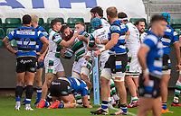 Newcastle Falcons Gary Graham celebrates scoring his sides first try<br /> <br /> Photographer Bob Bradford/CameraSport<br /> <br /> Gallagher Premiership Round 1 - Bath Rugby v Newcastle Falcons - Saturday 21st November 2020 - The Recreation Ground - Bath<br /> <br /> World Copyright © 2020 CameraSport. All rights reserved. 43 Linden Ave. Countesthorpe. Leicester. England. LE8 5PG - Tel: +44 (0) 116 277 4147 - admin@camerasport.com - www.camerasport.com