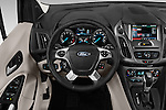 Car pictures of steering wheel view of a 2018 Ford Transit Connect Titanium 5 Door Mini Mpv Steering Wheel