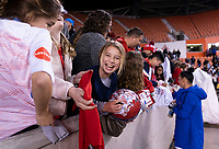 HOUSTON, TX - JANUARY 31: Ali Krieger #11 of the United States signs autographs during a game between Panama and USWNT at BBVA Stadium on January 31, 2020 in Houston, Texas.