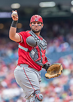 16 August 2017: Los Angeles Angels catcher Juan Graterol in action against the Washington Nationals at Nationals Park in Washington, DC. The Angels defeated the Nationals 3-2 to split their 2-game series. Mandatory Credit: Ed Wolfstein Photo *** RAW (NEF) Image File Available ***
