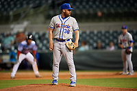 St. Lucie Mets relief pitcher Matt Pobereyko (38) looks in for the sign during a game against the Florida Fire Frogs on April 19, 2018 at Osceola County Stadium in Kissimmee, Florida.  St. Lucie defeated Florida 3-2.  (Mike Janes/Four Seam Images)