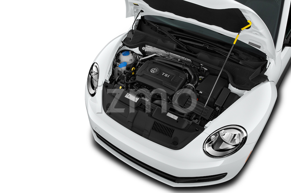 Car Stock 2016 Volkswagen Beetle 1.8T-S-Auto-PZEV 3 Door Hatchback Engine  high angle detail view