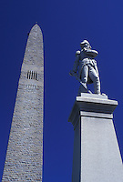 obelisk, battle monument, Vermont, VT, Bennington, The Bennington Battle Monument, a 306 foot obelisk, is the tallest structure in Vermont and the statue of Colonel Seth Warner in Bennington in the spring.