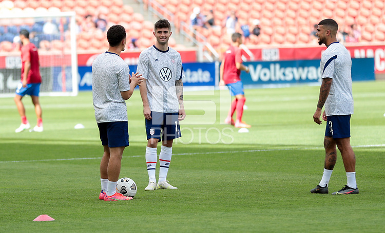 SANDY, UT - JUNE 10: of the United States warming up of the United States before a game between Costa Rica and USMNT at Rio Tinto Stadium on June 10, 2021 in Sandy, Utah.