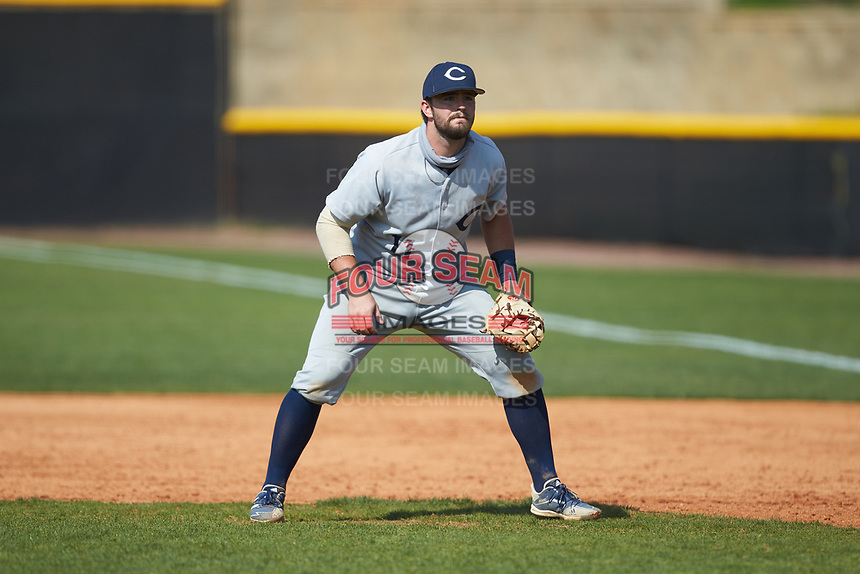 Catawba Indians first baseman Cameron Morrison (11) on defense during game two of a double-header against the Queens Royals at Tuckaseegee Dream Fields on March 26, 2021 in Kannapolis, North Carolina. (Brian Westerholt/Four Seam Images)