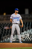 Tennessee Smokies relief pitcher Jake Stinnett (43) looks in for the sign during a game against the Birmingham Barons on August 16, 2018 at Regions FIeld in Birmingham, Alabama.  Tennessee defeated Birmingham 11-1.  (Mike Janes/Four Seam Images)