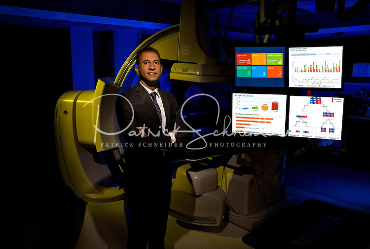 On-location Portrait Photography of  Allen Naidoo, head of  the Dickson Advanced Analytics at Carolinas HealthCare in Charlotte, North Carolina<br /> <br /> Charlotte Photographer - PatrickSchneiderPhoto.com