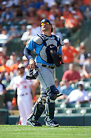 Tampa Bay Rays catcher Mike Zunino (10) tracks a pop up during a Grapefruit League Spring Training game against the Baltimore Orioles on March 1, 2019 at Ed Smith Stadium in Sarasota, Florida.  Rays defeated the Orioles 10-5.  (Mike Janes/Four Seam Images)