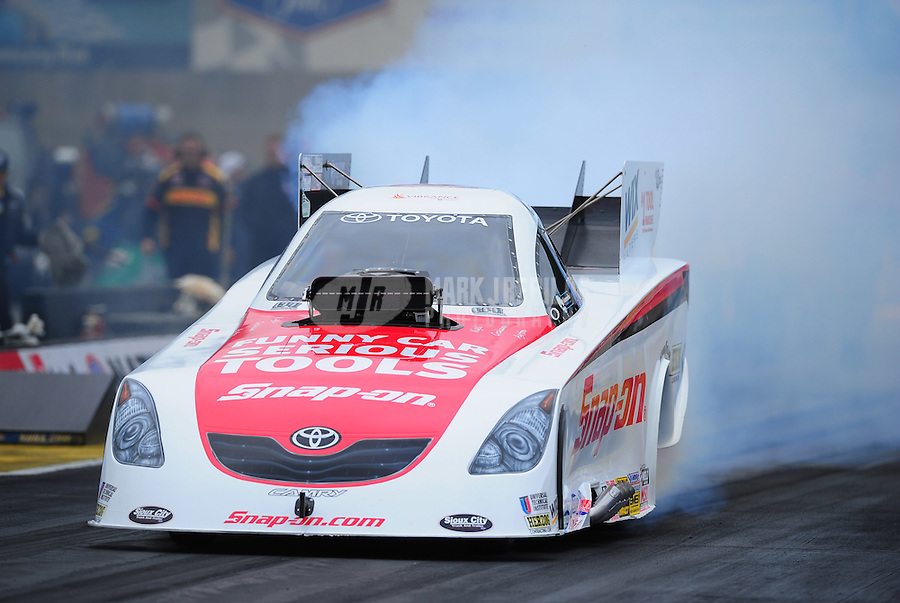 Oct. 2, 2011; Mohnton, PA, USA: NHRA funny car driver Cruz Pedregon during the Auto Plus Nationals at Maple Grove Raceway. Mandatory Credit: Mark J. Rebilas-