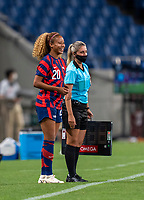 SAITAMA, JAPAN - JULY 24: Casey Krueger #20 of the USWNT subs into the match during a game between New Zealand and USWNT at Saitama Stadium on July 24, 2021 in Saitama, Japan.