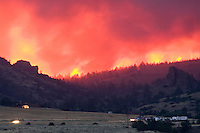 A massive wildfire sweeps over Jim Mountain. The fire was known as the Gunbarrel Fire for the its drainage of origin. Park County, Wyoming.