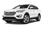Stock pictures of low aggressive front three quarter view of a 2014 Hyundai Santa Fe GLS 5 Door SUV Low Aggressive