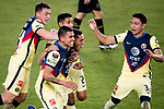 Sebastian Caceres of Club America (MEX) celebrates with his team mates after scoring a goal against Los Angeles FC (USA) during their CONCACAF Champions League Semi Finals match at the Orlando's Exploria Stadium on 19 December 2020, in Florida, USA. Photo by Victor Fraile / Power Sport Images